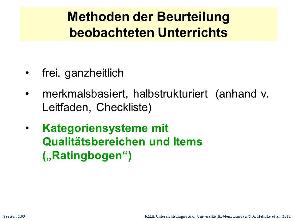 Version 2.03 KMK-Unterrichtsdiagnostik, Universität Koblenz-Landau © A. Helmke et al. 2011 Methoden der Beurteilung beobachteten Unterrichts frei, gan