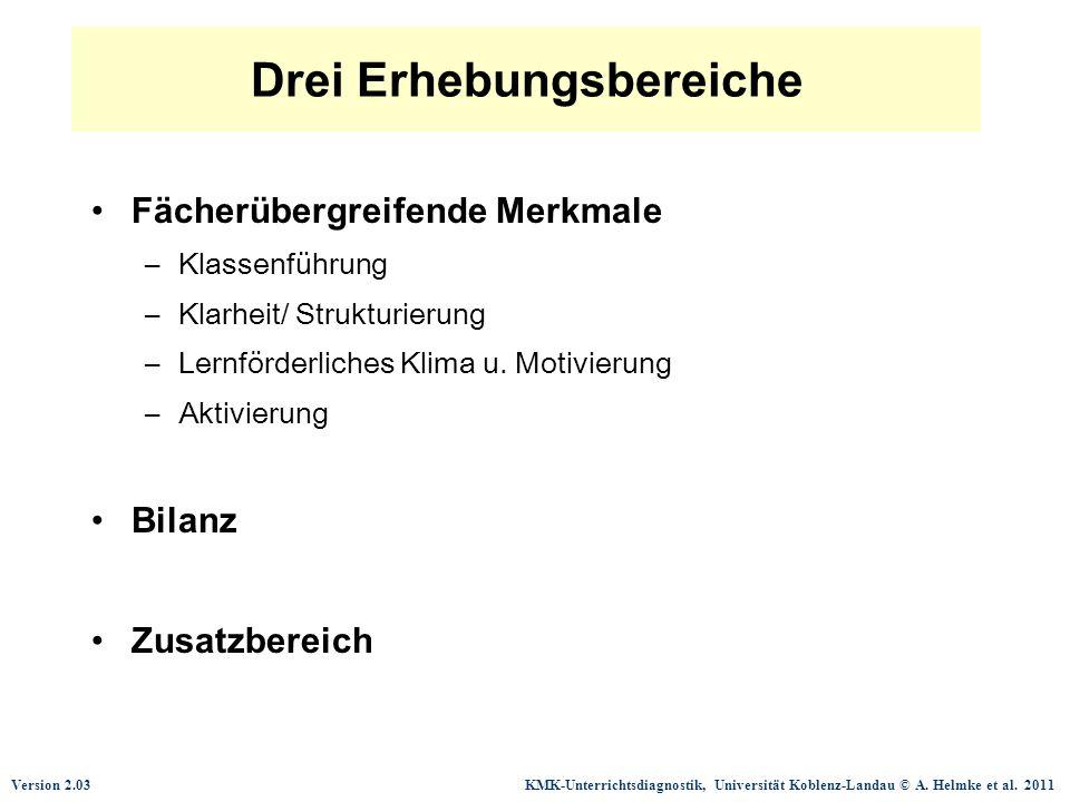 Version 2.03 KMK-Unterrichtsdiagnostik, Universität Koblenz-Landau © A. Helmke et al. 2011 Drei Erhebungsbereiche Fächerübergreifende Merkmale –Klasse