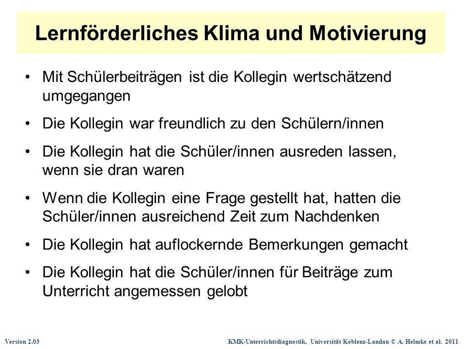 Version 2.03 KMK-Unterrichtsdiagnostik, Universität Koblenz-Landau © A. Helmke et al. 2011 Lernförderliches Klima und Motivierung Mit Schülerbeiträgen