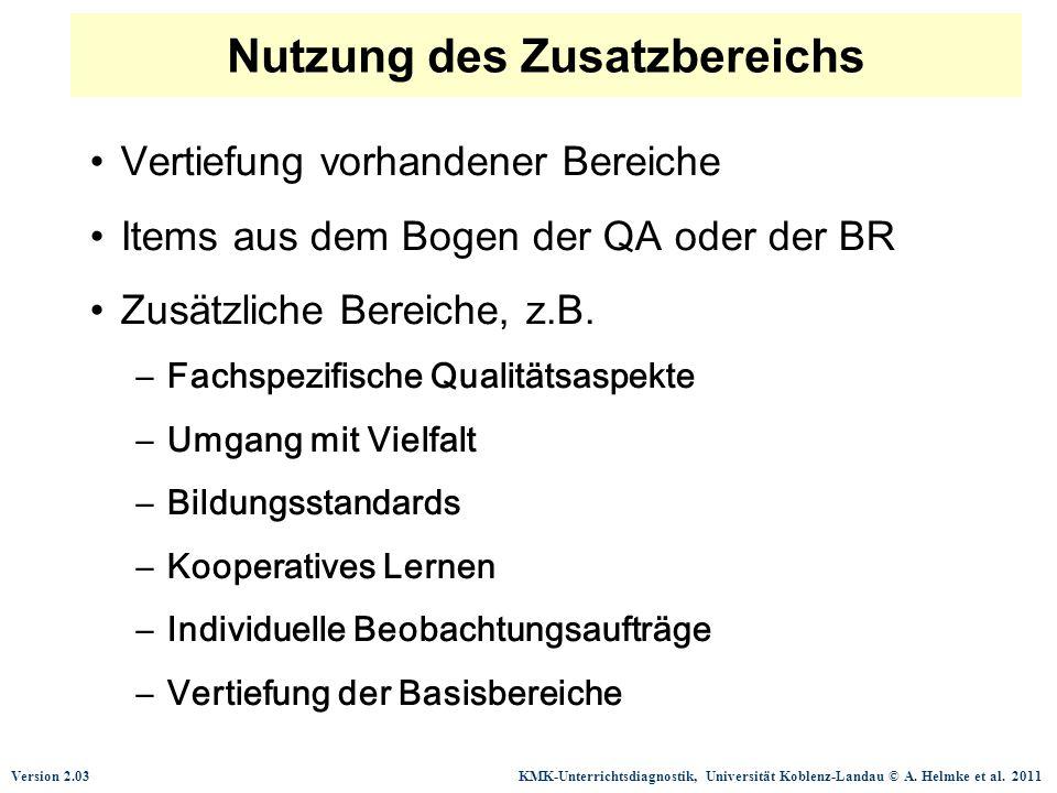 Version 2.03 KMK-Unterrichtsdiagnostik, Universität Koblenz-Landau © A. Helmke et al. 2011 Nutzung des Zusatzbereichs Vertiefung vorhandener Bereiche