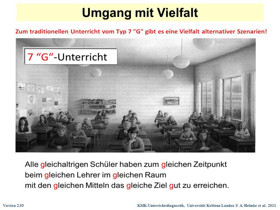 Version 2.03 KMK-Unterrichtsdiagnostik, Universität Koblenz-Landau © A. Helmke et al. 2011 Umgang mit Vielfalt