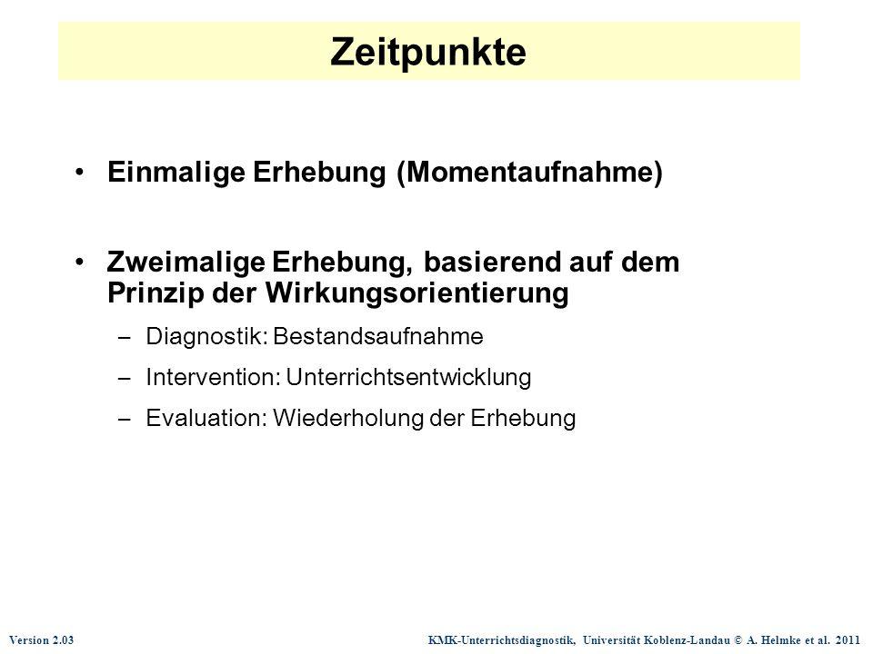 Version 2.03 KMK-Unterrichtsdiagnostik, Universität Koblenz-Landau © A. Helmke et al. 2011 Zeitpunkte Einmalige Erhebung (Momentaufnahme) Zweimalige E