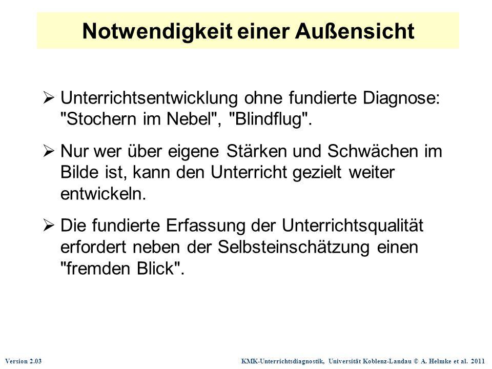 Version 2.03 KMK-Unterrichtsdiagnostik, Universität Koblenz-Landau © A. Helmke et al. 2011  Unterrichtsentwicklung ohne fundierte Diagnose: