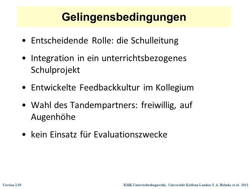Version 2.03 KMK-Unterrichtsdiagnostik, Universität Koblenz-Landau © A. Helmke et al. 2011 Gelingensbedingungen Entscheidende Rolle: die Schulleitung