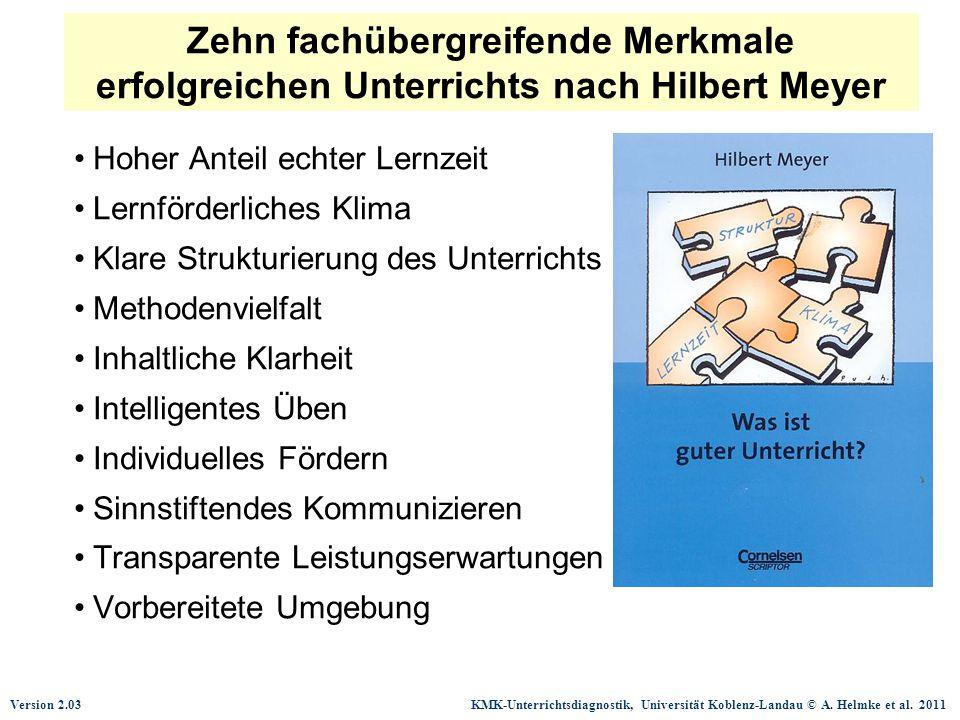 Version 2.03 KMK-Unterrichtsdiagnostik, Universität Koblenz-Landau © A. Helmke et al. 2011 Hoher Anteil echter Lernzeit Lernförderliches Klima Klare S