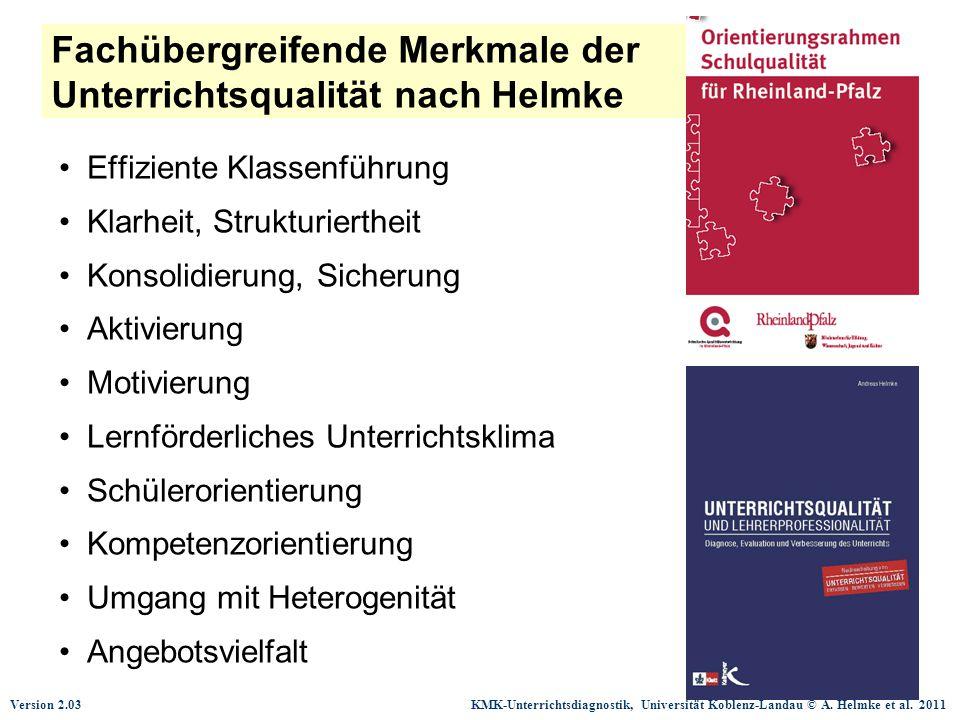 Version 2.03 KMK-Unterrichtsdiagnostik, Universität Koblenz-Landau © A. Helmke et al. 2011 Fachübergreifende Merkmale der Unterrichtsqualität nach Hel