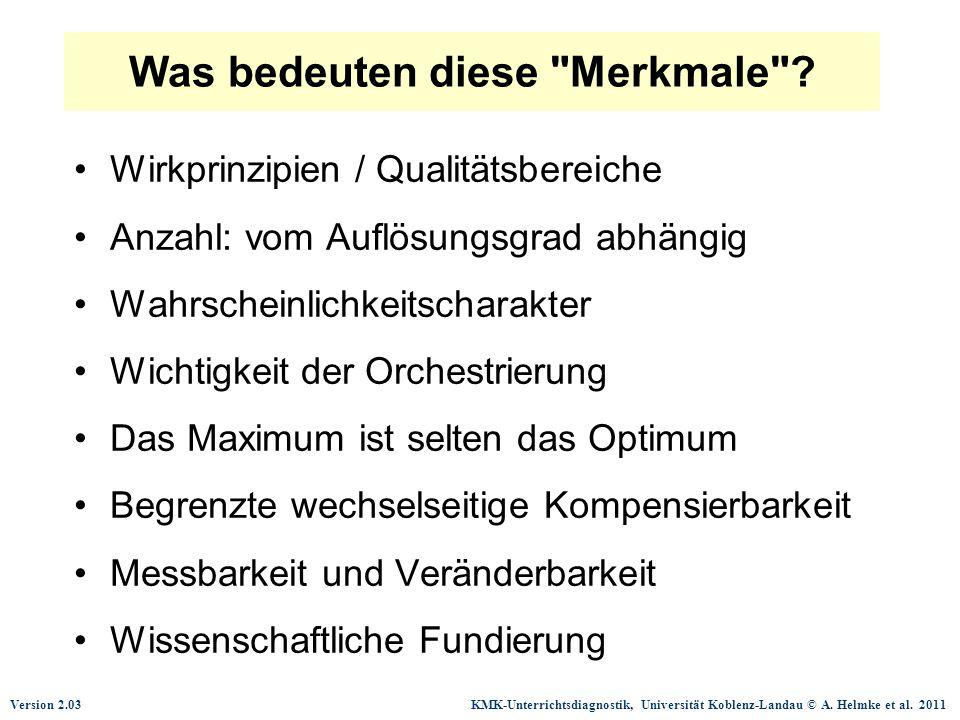 Version 2.03 KMK-Unterrichtsdiagnostik, Universität Koblenz-Landau © A. Helmke et al. 2011 Was bedeuten diese