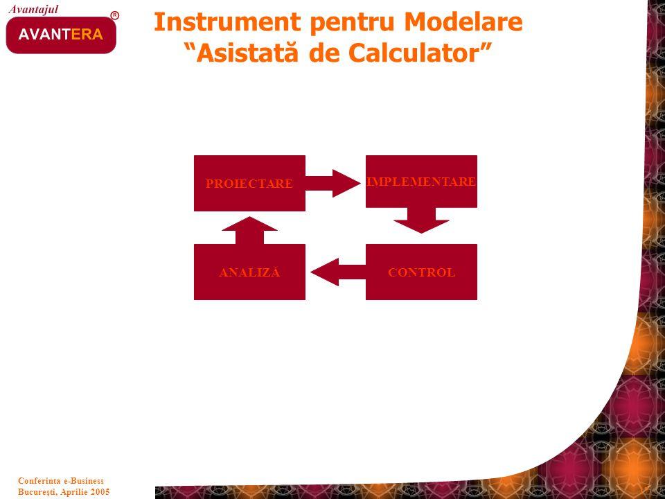 """Bucureşti, Aprilie 2005 17 Conferinta e-Business Instrument pentru Modelare """"Asistată de Calculator"""" PROIECTARE IMPLEMENTARE CONTROL ANALIZĂ"""