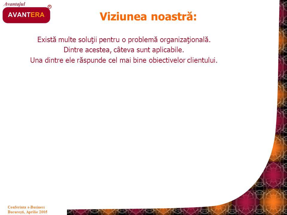 Bucureşti, Aprilie 2005 2 Conferinta e-Business Viziunea noastră: Există multe soluţii pentru o problemă organizaţională. Dintre acestea, câteva sunt