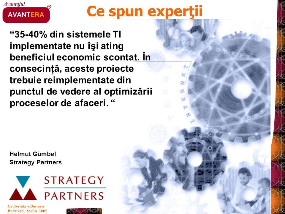 """Bucureşti, Aprilie 2005 28 Conferinta e-Business """"35-40% din sistemele TI implementate nu îşi ating beneficiul economic scontat. În consecinţă, aceste"""