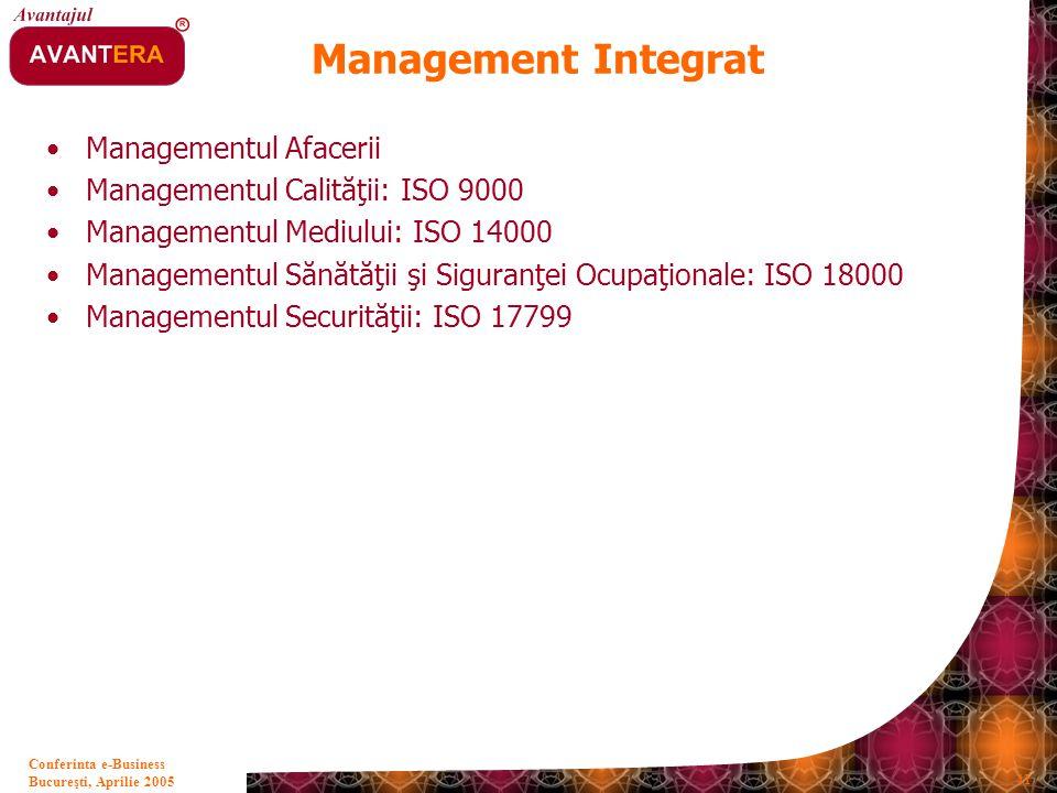 Bucureşti, Aprilie 2005 41 Conferinta e-Business Management Integrat Managementul Afacerii Managementul Calităţii: ISO 9000 Managementul Mediului: ISO