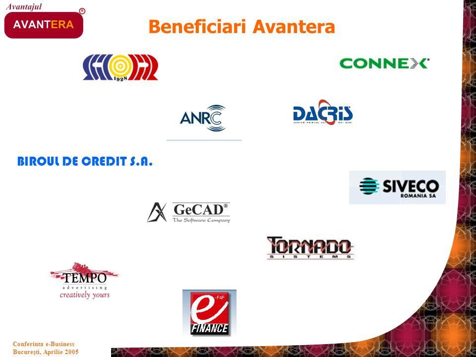 Bucureşti, Aprilie 2005 8 Conferinta e-Business Beneficiari Avantera BIROUL DE CREDIT S.A.