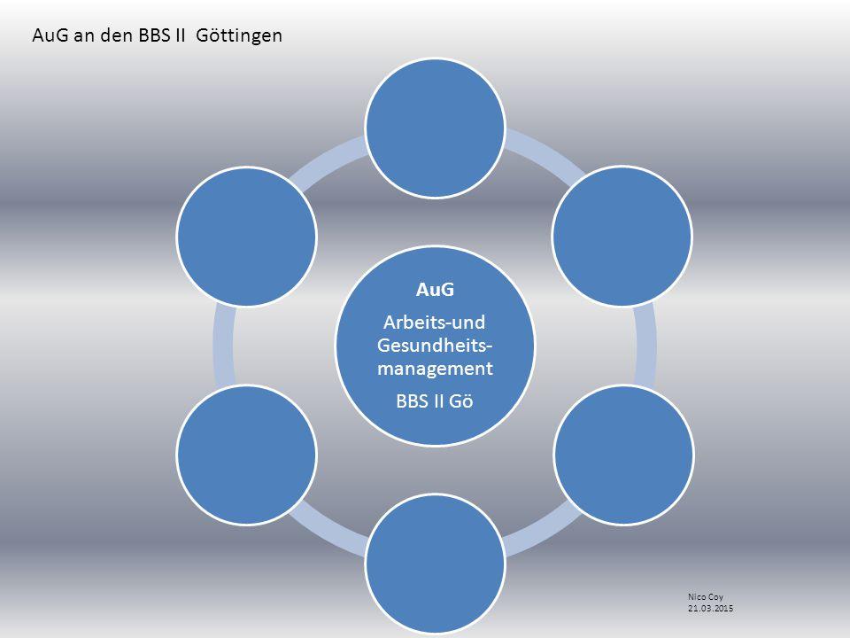 AuG Arbeits-und Gesundheits- management BBS II Gö AuG an den BBS II Göttingen Nico Coy 21.03.2015