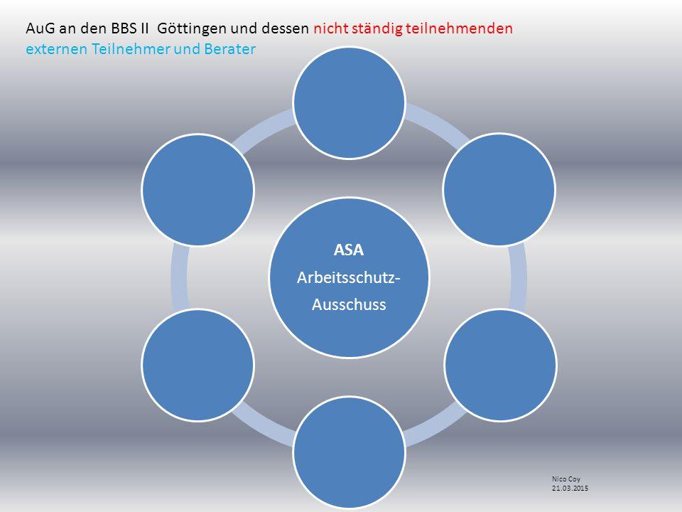 ASA Arbeitsschutz- Ausschuss AuG an den BBS II Göttingen und dessen nicht ständig teilnehmenden externen Teilnehmer und Berater Nico Coy 21.03.2015