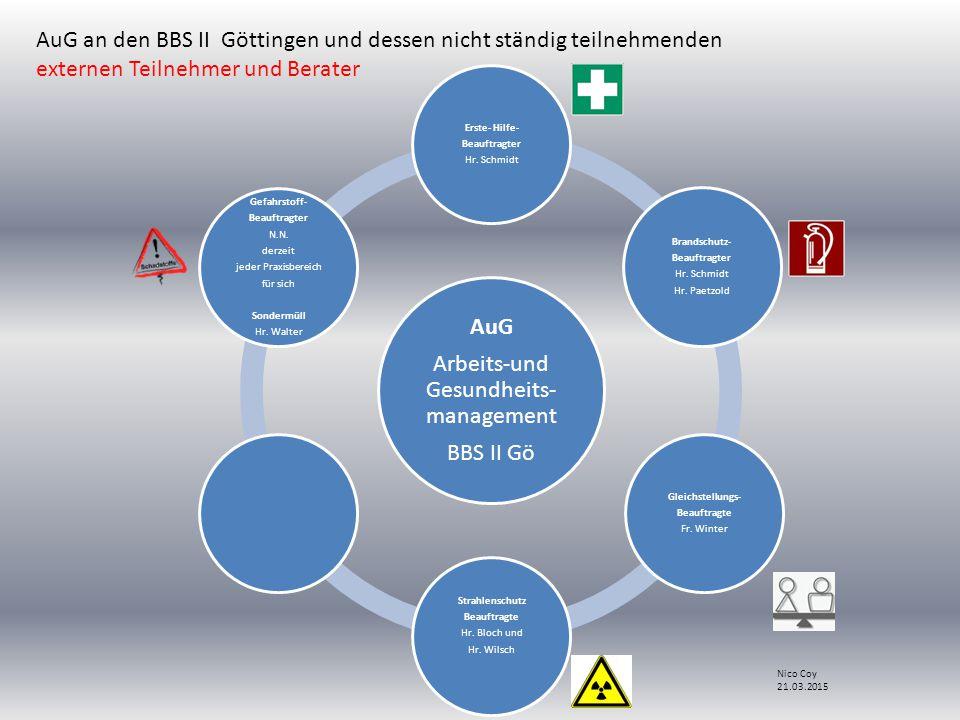 AuG Arbeits-und Gesundheits- management BBS II Gö Erste- Hilfe- Beauftragter Hr.
