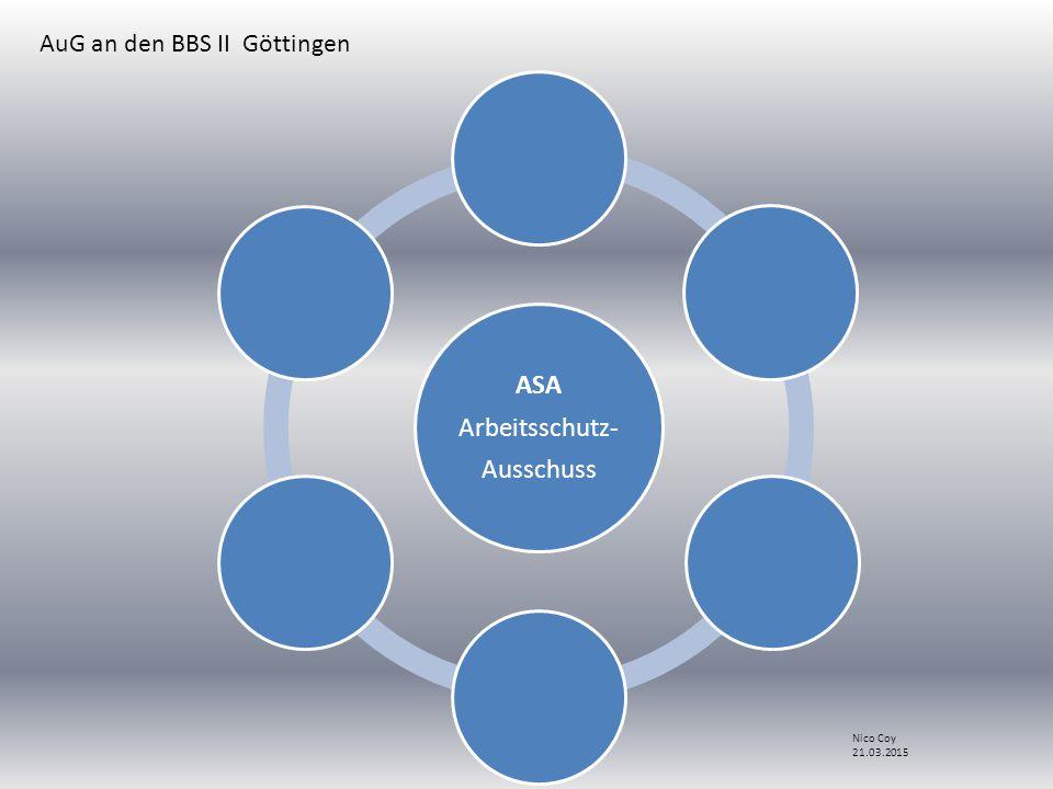 ASA Arbeitsschutz- Ausschuss AuG an den BBS II Göttingen Nico Coy 21.03.2015