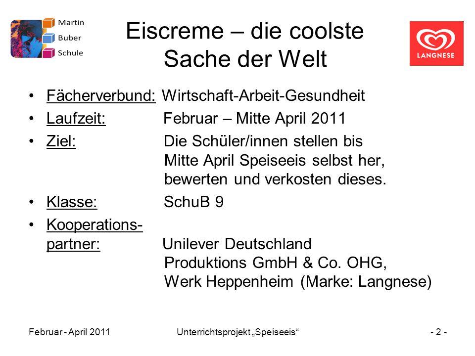 """Februar - April 2011Unterrichtsprojekt """"Speiseeis""""- 2 - Eiscreme – die coolste Sache der Welt Fächerverbund: Wirtschaft-Arbeit-Gesundheit Laufzeit: Fe"""