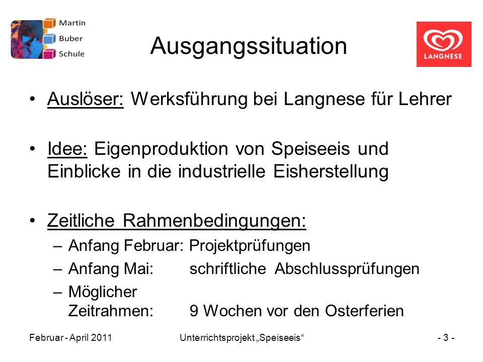 """Februar - April 2011Unterrichtsprojekt """"Speiseeis""""- 3 - Ausgangssituation Auslöser: Werksführung bei Langnese für Lehrer Idee: Eigenproduktion von Spe"""