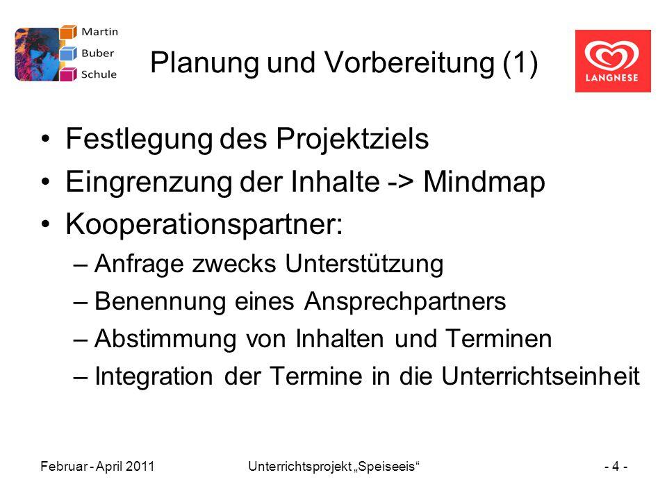 """Februar - April 2011Unterrichtsprojekt """"Speiseeis""""- 4 - Planung und Vorbereitung (1) Festlegung des Projektziels Eingrenzung der Inhalte -> Mindmap Ko"""