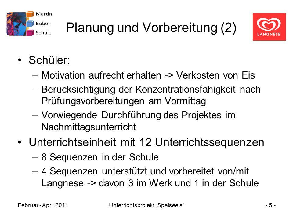 """Februar - April 2011Unterrichtsprojekt """"Speiseeis""""- 5 - Planung und Vorbereitung (2) Schüler: –Motivation aufrecht erhalten -> Verkosten von Eis –Berü"""