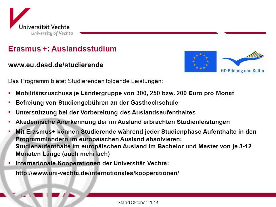 Erasmus +: Auslandsstudium www.eu.daad.de/studierende Das Programm bietet Studierenden folgende Leistungen:  Mobilitätszuschuss je Ländergruppe von 300, 250 bzw.