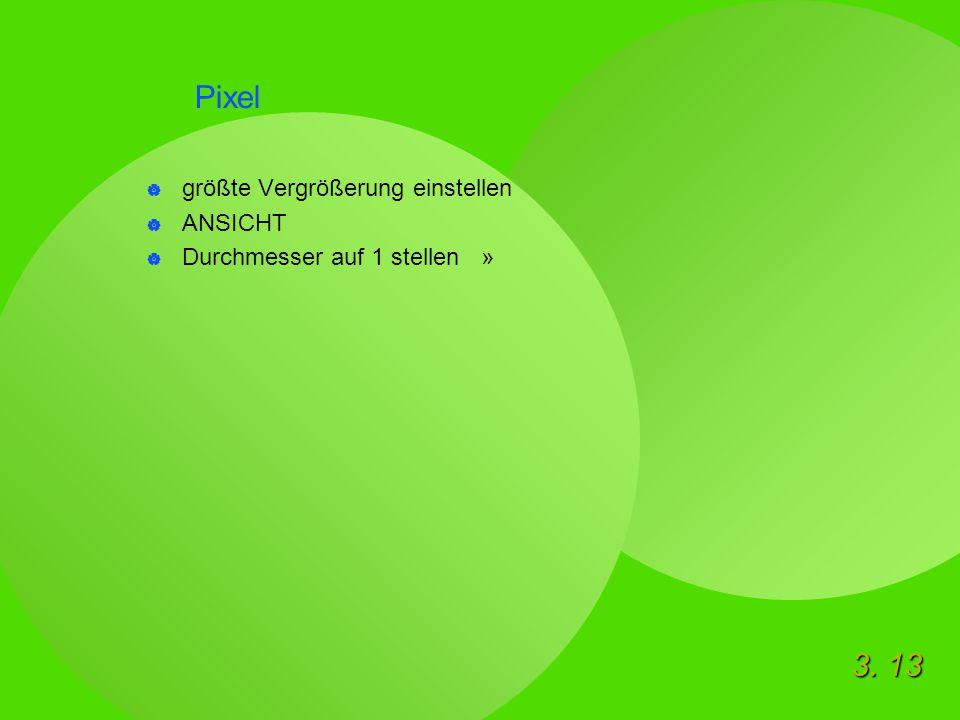 3. 13 Pixel  größte Vergrößerung einstellen  ANSICHT  Durchmesser auf 1 stellen »