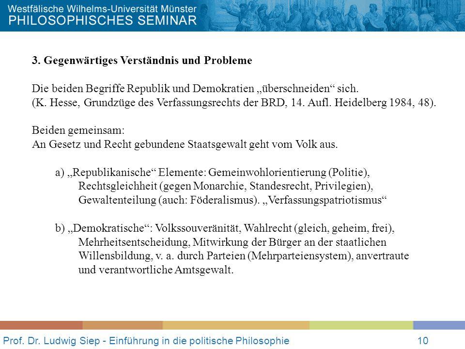 Prof. Dr. Ludwig Siep - Einführung in die politische Philosophie10 3. Gegenwärtiges Verständnis und Probleme Die beiden Begriffe Republik und Demokrat