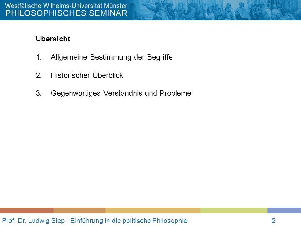 Prof. Dr. Ludwig Siep - Einführung in die politische Philosophie2 Übersicht 1.Allgemeine Bestimmung der Begriffe 2.Historischer Überblick 3.Gegenwärti