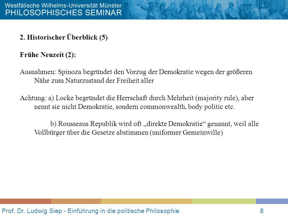 Prof. Dr. Ludwig Siep - Einführung in die politische Philosophie8 2. Historischer Überblick (5) Frühe Neuzeit (2): Ausnahmen: Spinoza begründet den Vo