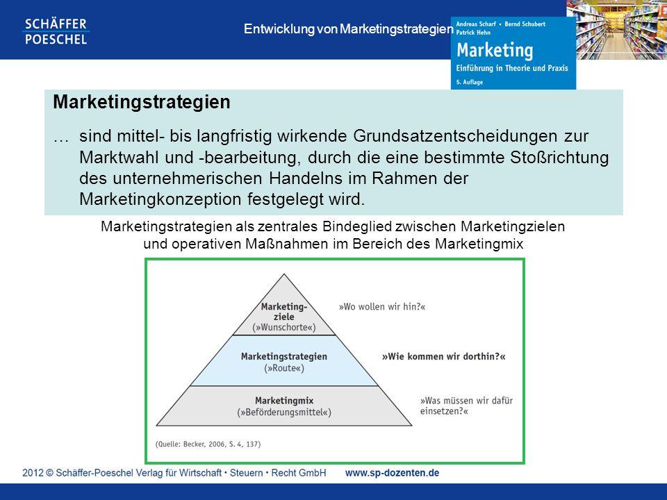 Marketingstrategien …sind mittel- bis langfristig wirkende Grundsatzentscheidungen zur Marktwahl und -bearbeitung, durch die eine bestimmte Stoßrichtung des unternehmerischen Handelns im Rahmen der Marketingkonzeption festgelegt wird.