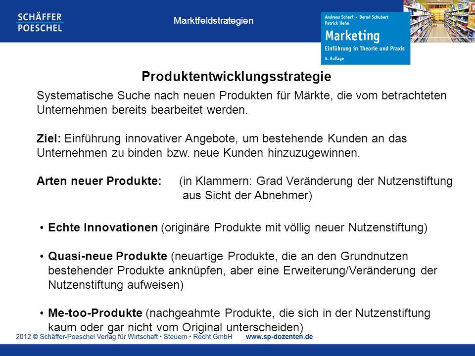 Produktentwicklungsstrategie Systematische Suche nach neuen Produkten für Märkte, die vom betrachteten Unternehmen bereits bearbeitet werden. Ziel: Ei