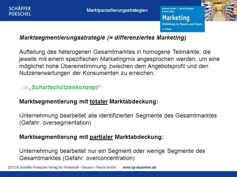 Marktsegmentierungsstrategie (= differenziertes Marketing) Aufteilung des heterogenen Gesamtmarktes in homogene Teilmärkte, die jeweils mit einem spezifischen Marketingmix angesprochen werden, um eine möglichst hohe Übereinstimmung zwischen dem Angebotsprofil und den Nutzenerwartungen der Konsumenten zu erreichen.