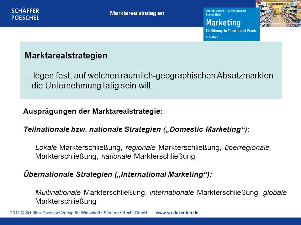 Marktarealstrategien …legen fest, auf welchen räumlich-geographischen Absatzmärkten die Unternehmung tätig sein will.