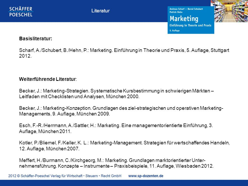 Basisliteratur: Scharf, A./Schubert, B./Hehn, P.: Marketing. Einführung in Theorie und Praxis, 5. Auflage, Stuttgart 2012. Weiterführende Literatur: B