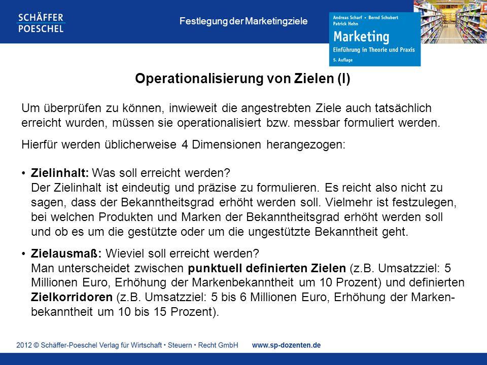 Operationalisierung von Zielen (I) Um überprüfen zu können, inwieweit die angestrebten Ziele auch tatsächlich erreicht wurden, müssen sie operationalisiert bzw.