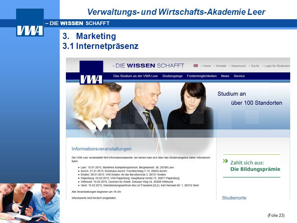 – DIE WISSEN SCHAFFT (Folie 23) Verwaltungs- und Wirtschafts-Akademie Leer 3. Marketing 3.1 Internetpräsenz