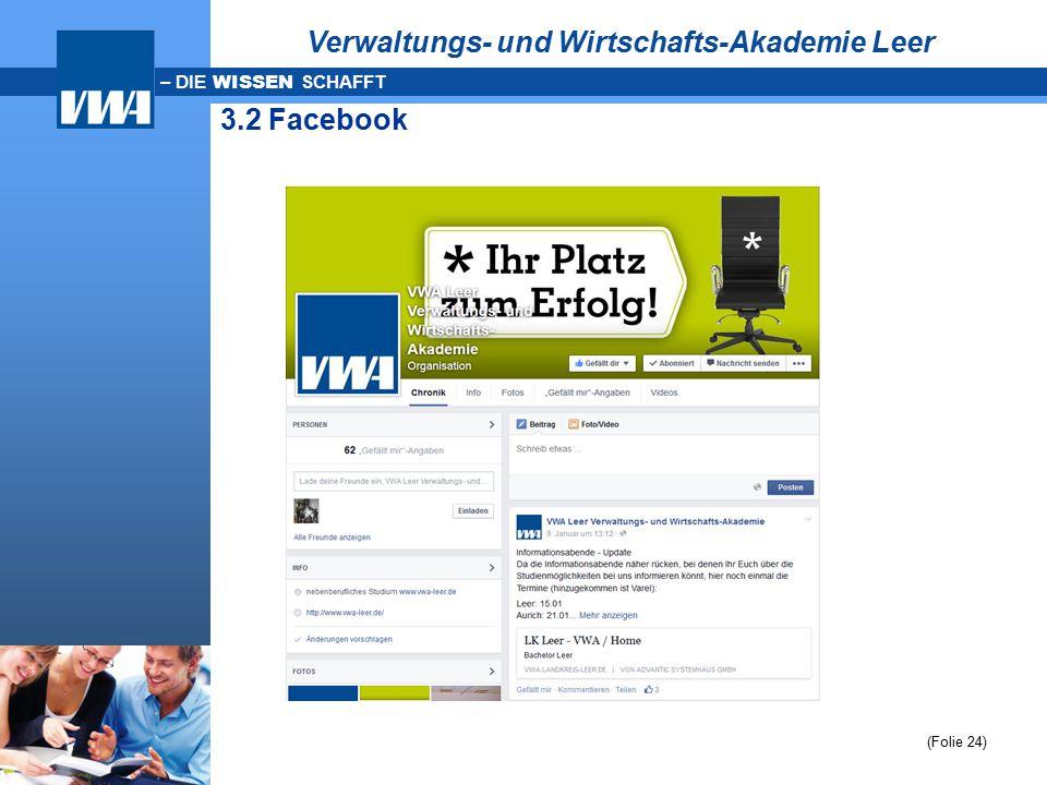 – DIE WISSEN SCHAFFT 3.2 Facebook (Folie 24) Verwaltungs- und Wirtschafts-Akademie Leer