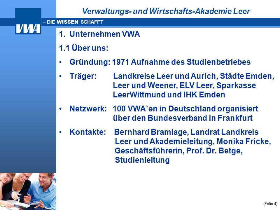 – DIE WISSEN SCHAFFT (Folie 4) 1.Unternehmen VWA 1.1 Über uns: Gründung: 1971 Aufnahme des Studienbetriebes Träger: Landkreise Leer und Aurich, Städte