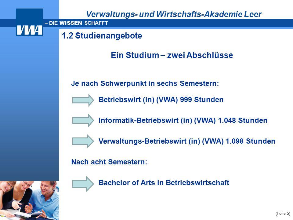 – DIE WISSEN SCHAFFT (Folie 5) Je nach Schwerpunkt in sechs Semestern: Betriebswirt (in) (VWA) 999 Stunden Informatik-Betriebswirt (in) (VWA) 1.048 St
