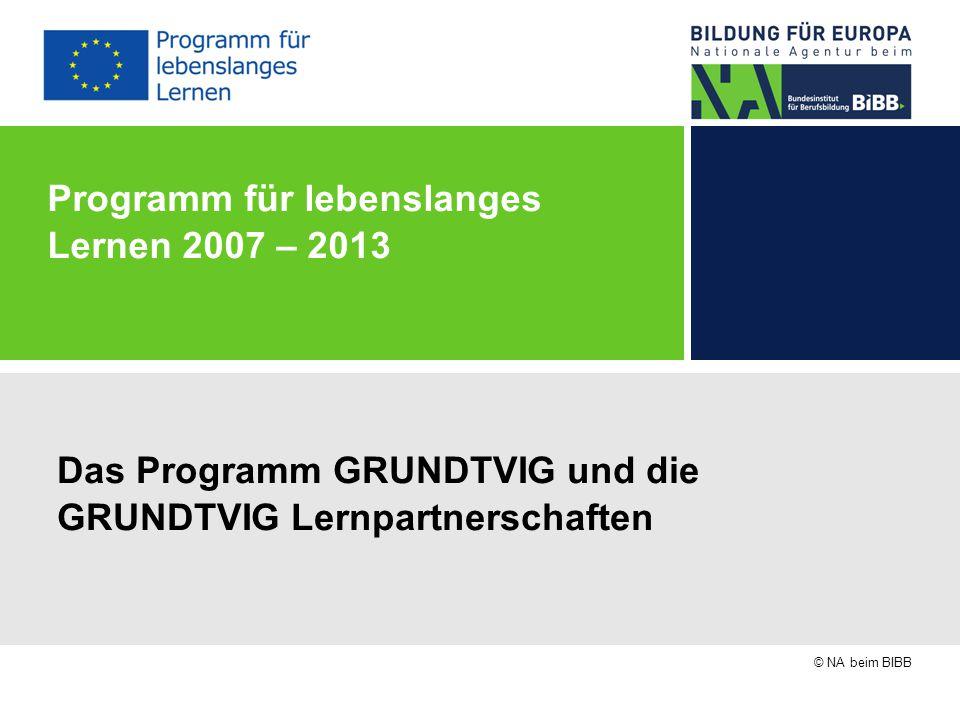 © NA beim BIBB Programm für lebenslanges Lernen 2007 – 2013 Das Programm GRUNDTVIG und die GRUNDTVIG Lernpartnerschaften