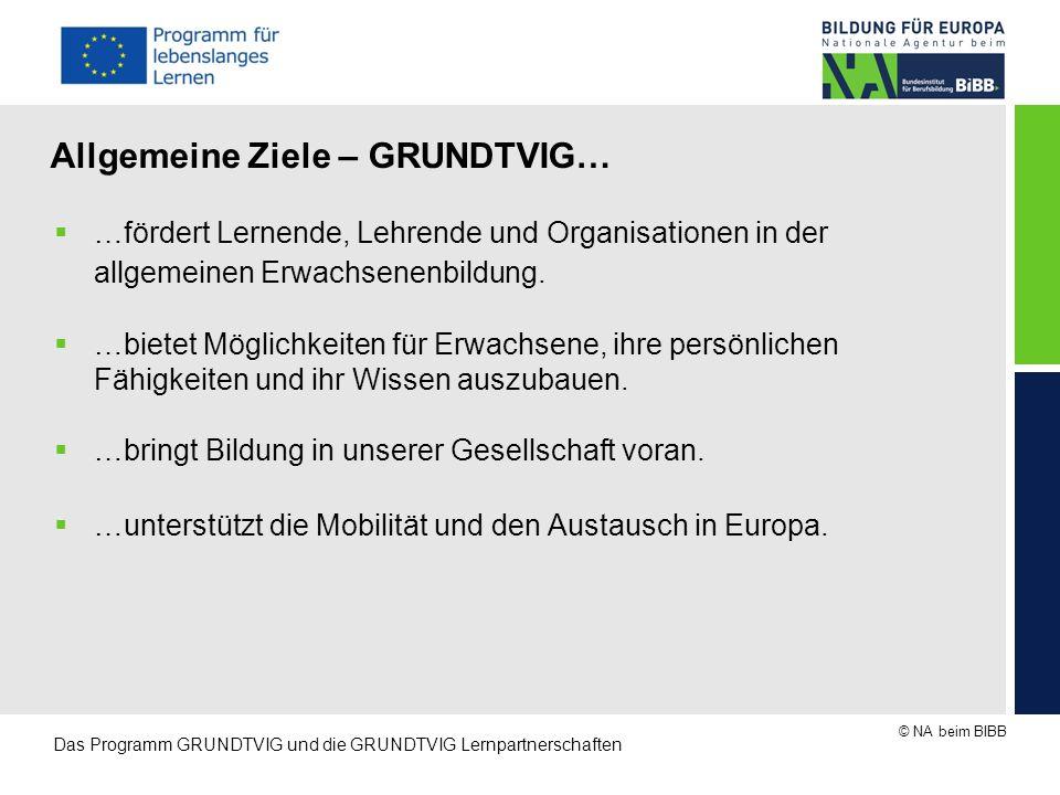 © NA beim BIBB Das Programm GRUNDTVIG und die GRUNDTVIG Lernpartnerschaften Spezifische Ziele – GRUNDTVIG möchte…  …die Mobilität von Menschen, die in der EU leben, steigern.