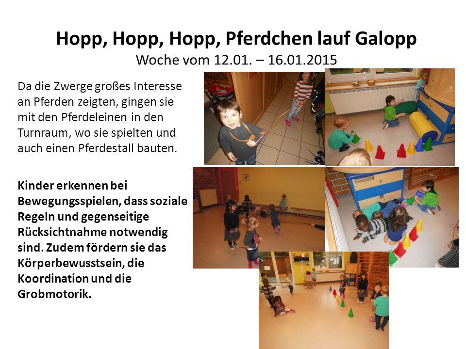 Hopp, Hopp, Hopp, Pferdchen lauf Galopp Woche vom 12.01. – 16.01.2015 Da die Zwerge großes Interesse an Pferden zeigten, gingen sie mit den Pferdelein