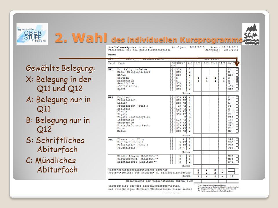 2. Wahl des individuellen Kursprogramms 06.05.2015 Gewählte Belegung: X: Belegung in der Q11 und Q12 A: Belegung nur in Q11 B: Belegung nur in Q12 S: