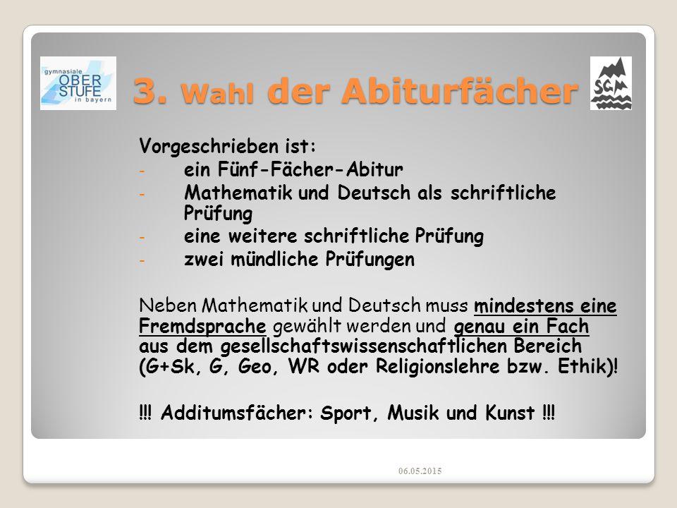 3. Wahl der Abiturfächer Vorgeschrieben ist: - ein Fünf-Fächer-Abitur - Mathematik und Deutsch als schriftliche Prüfung - eine weitere schriftliche Pr