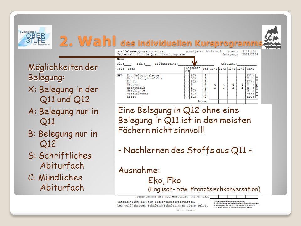 2. Wahl des individuellen Kursprogramms 06.05.2015 Möglichkeiten der Belegung: X: Belegung in der Q11 und Q12 A: Belegung nur in Q11 B: Belegung nur i