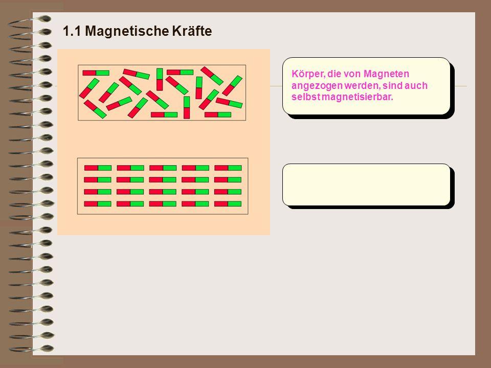 Körper, die von Magneten angezogen werden, sind auch selbst magnetisierbar.