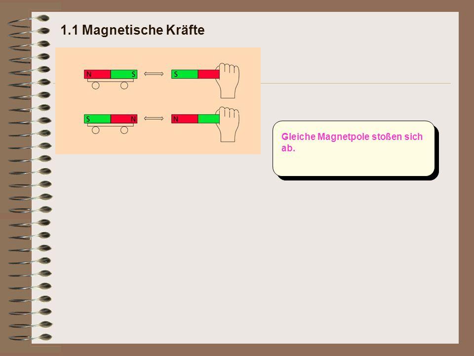 Gleiche Magnetpole stoßen sich ab.