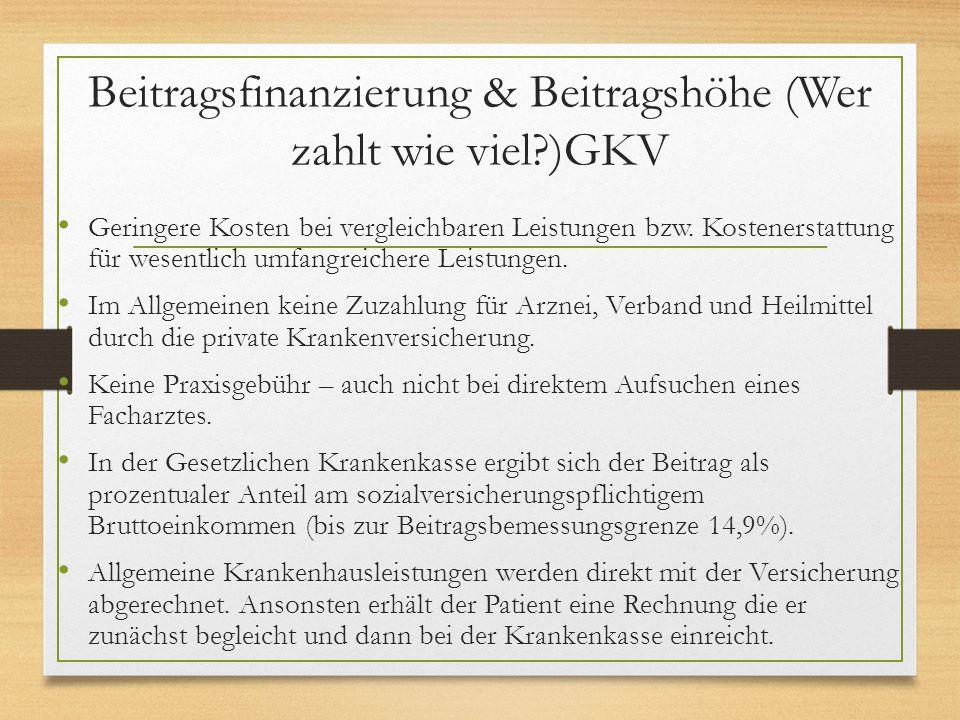 Beitragsfinanzierung & Beitragshöhe (Wer zahlt wie viel?)GKV Geringere Kosten bei vergleichbaren Leistungen bzw. Kostenerstattung für wesentlich umfan