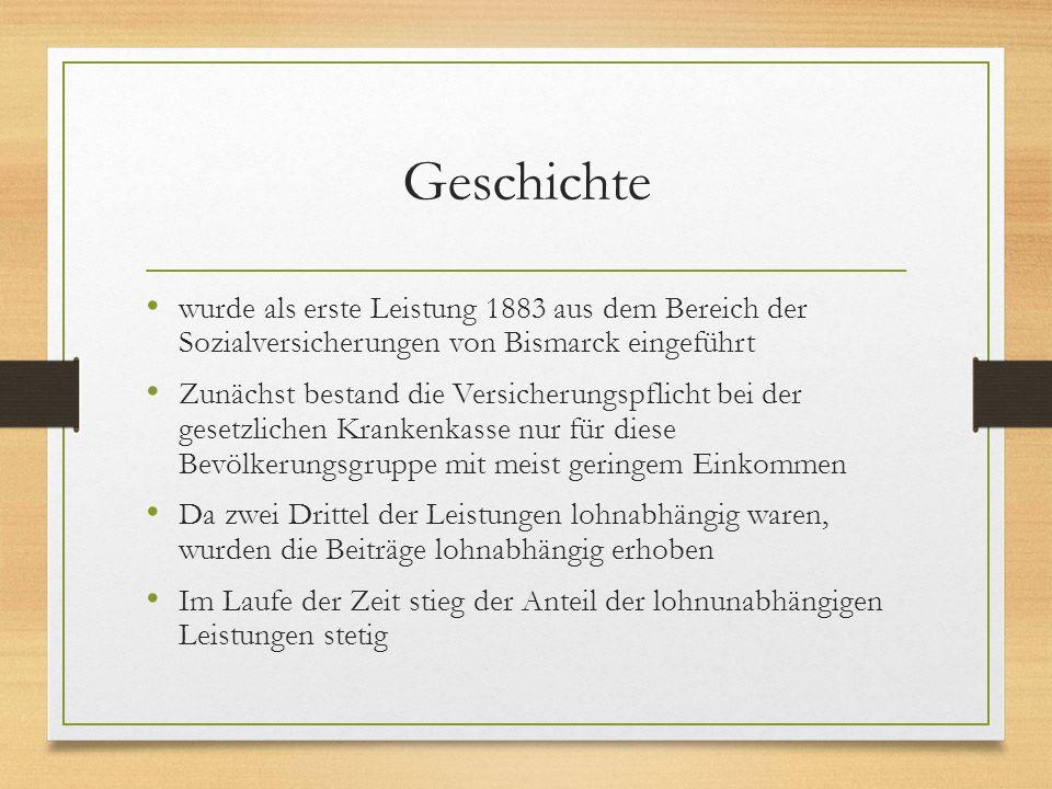 Geschichte wurde als erste Leistung 1883 aus dem Bereich der Sozialversicherungen von Bismarck eingeführt Zunächst bestand die Versicherungspflicht be