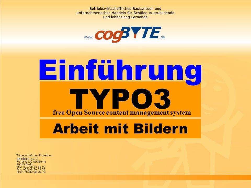 TYPO3 free Open Source content management system Einführung Arbeit mit Bildern